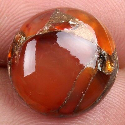 Glowing 14x14 mm CARNELIAN COPPER MOHAVE Round Cabochon Gemstone 7.5 Cts s-24385