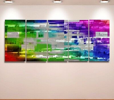 Metal Wall Art Modern Abstract Original painting  Large multi-colored & silver