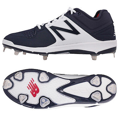 New Balance Baseball Shoes Metal Spike Cleats White / Navy L3000 TN3
