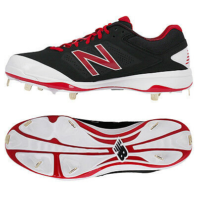 New Balance Baseball Shoes Metal Spike Cleats Black/White/Red L4040 BR3