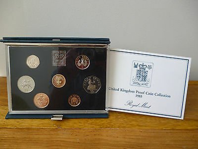 1985 Royal Mint Proof Coin Set Housed In The Blue Case With Leaflet And Card Box