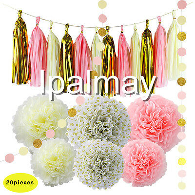 Pink Cream And Gold Tissue Paper Pompoms Tassel Garland Party Foil Curtain Decor