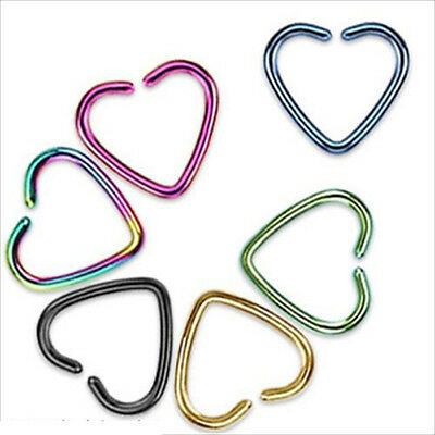 Punk Heart Clip On Captive Ring Fake Nose Lip Cartilage Earring No Piercing Gift