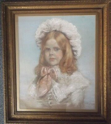 Framed Victorian Pastel Drawing A Portrait Study Of A Young Girl