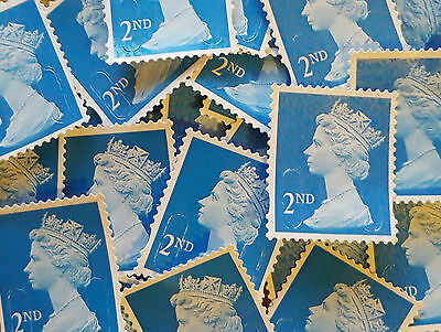 100 x 2ND SECOND CLASS BLUE SECURITY UNFRANKED STAMPS OFF PAPER, NO GUM