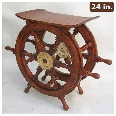 Nautical Ship Wheel Table Wooden Steering Boat Decor Maritime Pirate Teak Wood
