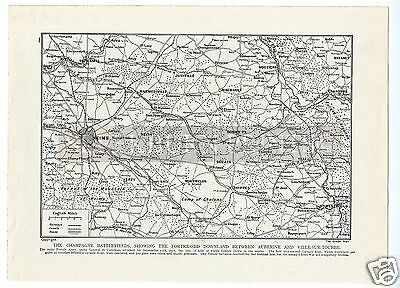 1915 MAP Champagne Battlefields REIMS Tahure NEUFCHATEL Vouziers SUIPPES WW1 WAR