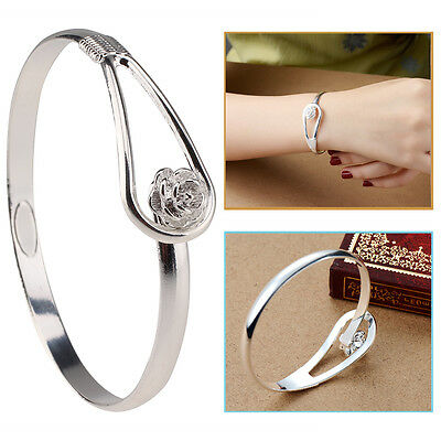 Solid Sterling Silver Vintage Flower Bracelet Bangle Lady Charm Jewelry Gift