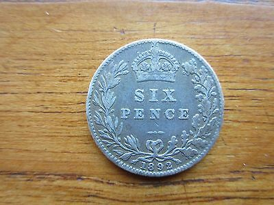 1892 Queen Victoria Sixpence toned