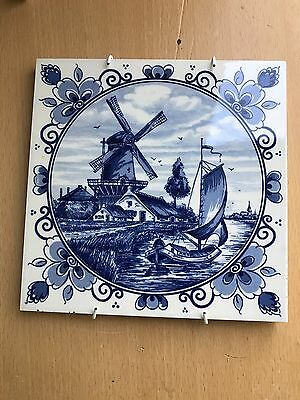 Delft Blue Blauw Hand painted Tile Windmill