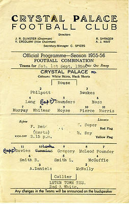 Crystal Palace Reserves v. Luton Town Reserves 1/9/1956 (R085)