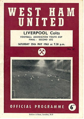 West Ham United v. Liverpool  25/5/1963 Youth Cup Final 2nd Leg (R039)