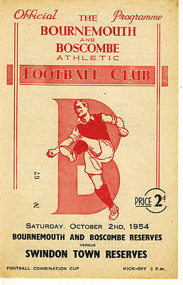 Bournemouth Reserves v. Swindon Town Reserves 2/10/1954 Cup (R074)