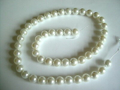 """15 1/2"""" Strand - Grade A - White 8mm Shell Pearl Round Beads"""