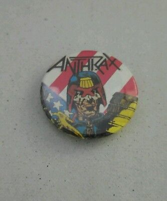 "Anthrax Judge Dredd ""I am the Law"" button badge VINTAGE RARE 1980s"