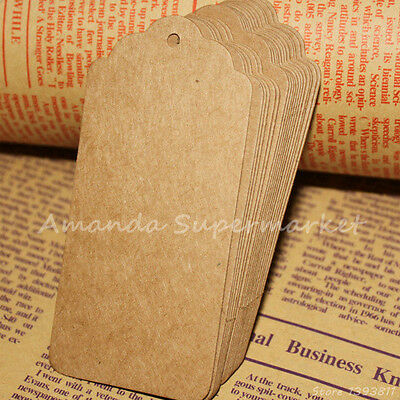 100 Brown Kraft Paper Wedding Note+30m String Tag Lace Scallop Head tag 95x45mm