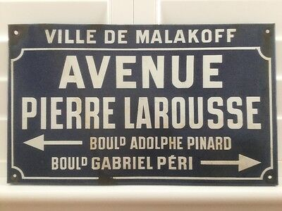Vintage Enamel Metal French Street Sign Industrial Collectable