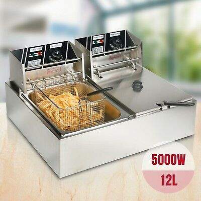 5000W Stainless Steel Electric Deep Fryer Dual Tanks Commercial Tabletop 12L New