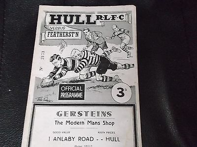 HULL V FEATHERSTONE ROVERS 1956-7 RARE IN GREAT CONDITION rugby league programme
