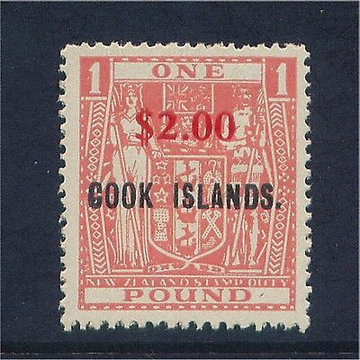 Cook Islands QE 1967 $2 on £1 Overprinted Value Very Lightly Mounted Mint.