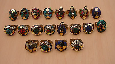 20 Pc Wholesale 925 Tibetan Silver Coral & Mix Stone Big Adjustable Ring Lot