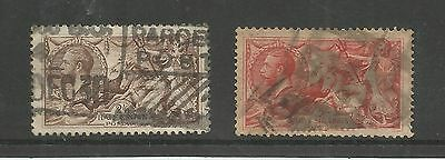 KING GEORGE V 2/6d AND 5/- ORIGINAL SEAHORSES USED    REF 617