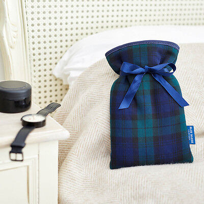 Blackwatch Tartan Mini Hot Water Bottle With Padded Soft Cover Father's Day Gift