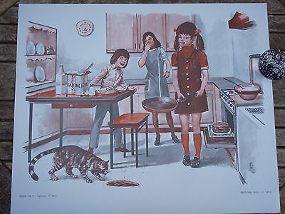 ORIGINAL RETRO VINTAGE 1970s FRENCH POSTER PRINT,FAMILY COOKING PAN CAKE THROW