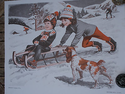 ORIGINAL RETRO VINTAGE 1970s POSTER PRINT,CHILDREN SLEDGING & WOODWORKING SHOP