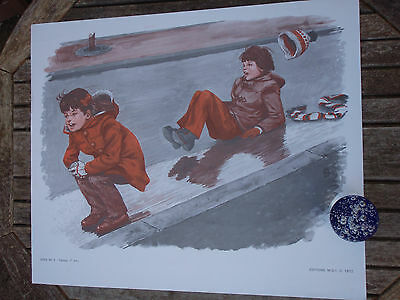 ORIGINAL RETRO VINTAGE 1970s FRENCH POSTER PRINT,CHILD SKIDDING PLAYING ON ICE