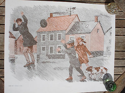 ORIGINAL RETRO VINTAGE 1970s FRENCH POSTER PRINT, RAINSTORM AND SHOOTING SCENE