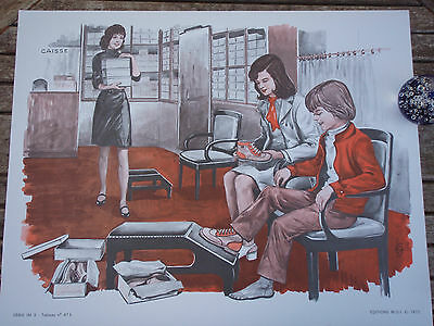ORIGINAL RETRO VINTAGE 1970s FRENCH POSTER PRINT,MOTHER AND SON SHOE SHOPPING
