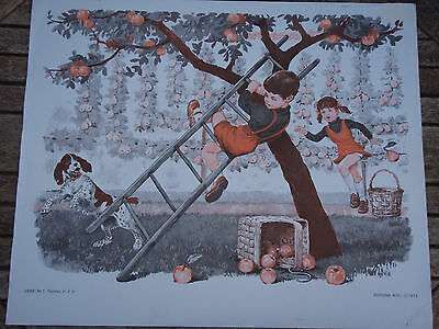 ORIGINAL RETRO VINTAGE 1970s FRENCH POSTER PRINT,BOY FALLING FROM LADDER FRUITIN