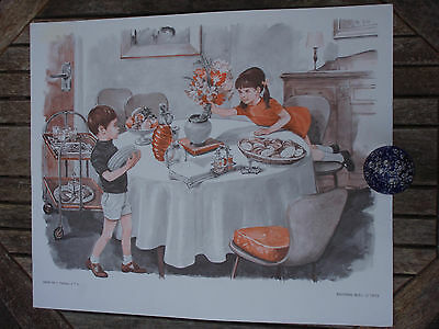 ORIGINAL RETRO VINTAGE 1970s FRENCH POSTER PRINT, DINNER TIME / TRAIN SET PLAY
