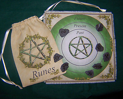 Pentacle Rune Casting Mat & Bag ideal for use with Runes Wicca divination Druid