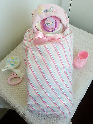 Baby Girl Swaddle Diaper Cake Baby Shower Centerpiece - Pink Turquoise White