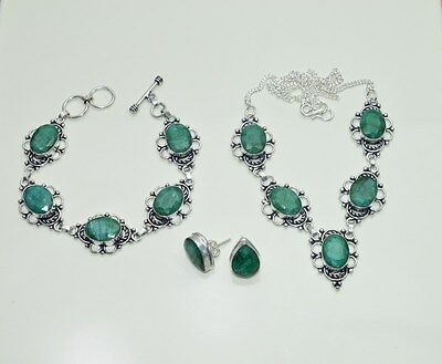 Wholesale 3Pc925 Silver Plated Faceted Emerald Earring-Necklace-Bracelet Mix Lot