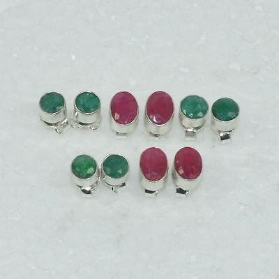 925 Solid Sterling Silver Wholesale 5Pair Natural Ruby,emerald Stud Earring Lot