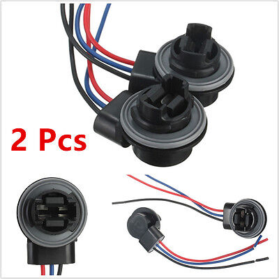 A Pair 12V Car 3157 3057 3156 LED  Brake Signal Lamp Socket Harness Wire Adapter