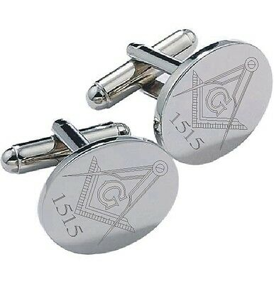 Masonic Personalised   Silver Cufflinks Personalised With Your Own Lodge Number
