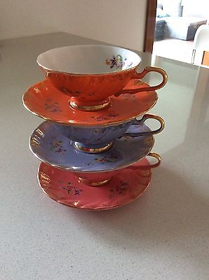 Three Decorative Teacups, Excellent Condition