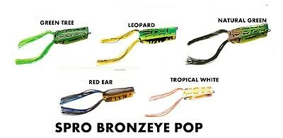 Top Water Rana Black Bass Spro Bronzeye Pop Popper Col. Tropical White