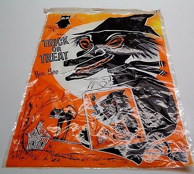 Vintage Halloween PLASTIC DRAW STRING TRICK OR TREAT BAG WITCH