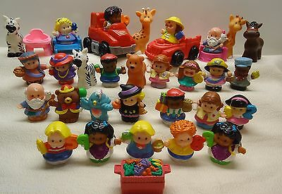 Fisher Price Little People RECENT PEOPLE ANIMALS CAR ACCESSORIES LOT 35 pieces