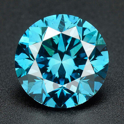 CERTIFIED .051 cts. Round Cut Vivid Blue Color SI Loose Real/Natural Diamond 1H