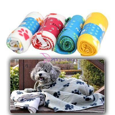 Pet Blanket Dogs Puppy Cat Cute Paw Print Soft Warm Fleece Bed Mat Cover Cushion