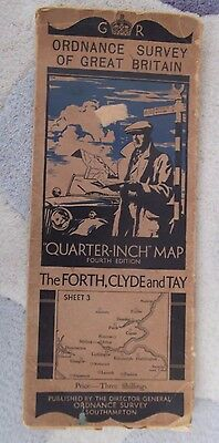 Vintage Ordnance Survey Map – The Forth, Clyde & Tay 1936/7 cloth map