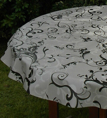 1.4x2.0m OVAL GREY & BLACK FLEUR PVC/VINYL TABLECLOTH WITH PARASOL HOLE
