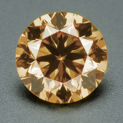 CERTIFIED .093 cts. Round Cut Champagne Color SI Loose Real/Natural Diamond 3H