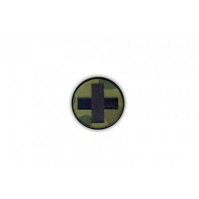 Medical patch - round camouflage with a black cross PATCH/BADGE